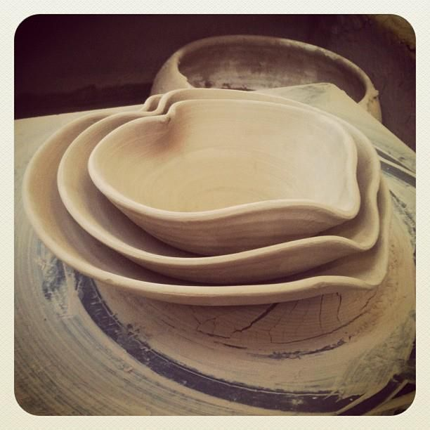 Nearly dry! Set of 3 nested heart bowls designed and made by Stephen Pearce Pottery.