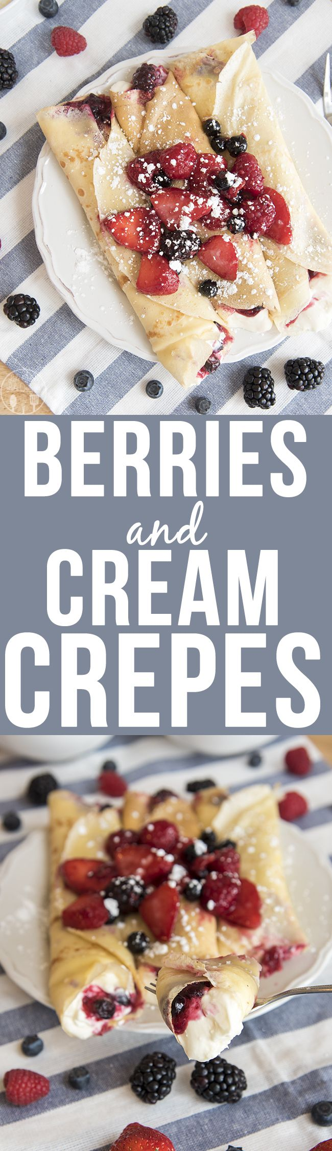 Berries and Cream Crepes - These amazing crepes are filled with a cheesecake like filling, and sweet juicy berries for a decadent breakfast or dessert