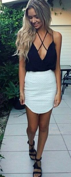 I can see this with less of a deep V neck. And the criss cross on the back