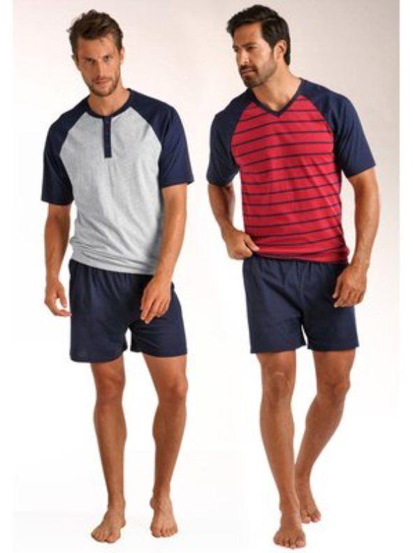Lote de 2 pijamas cortos LE JOGGER hombre. Lote de 2 pijamas compuestos de camisetas y pantalón. Las camisetas tienen las mangas cortas y ranglan, una de - Venca - 270028