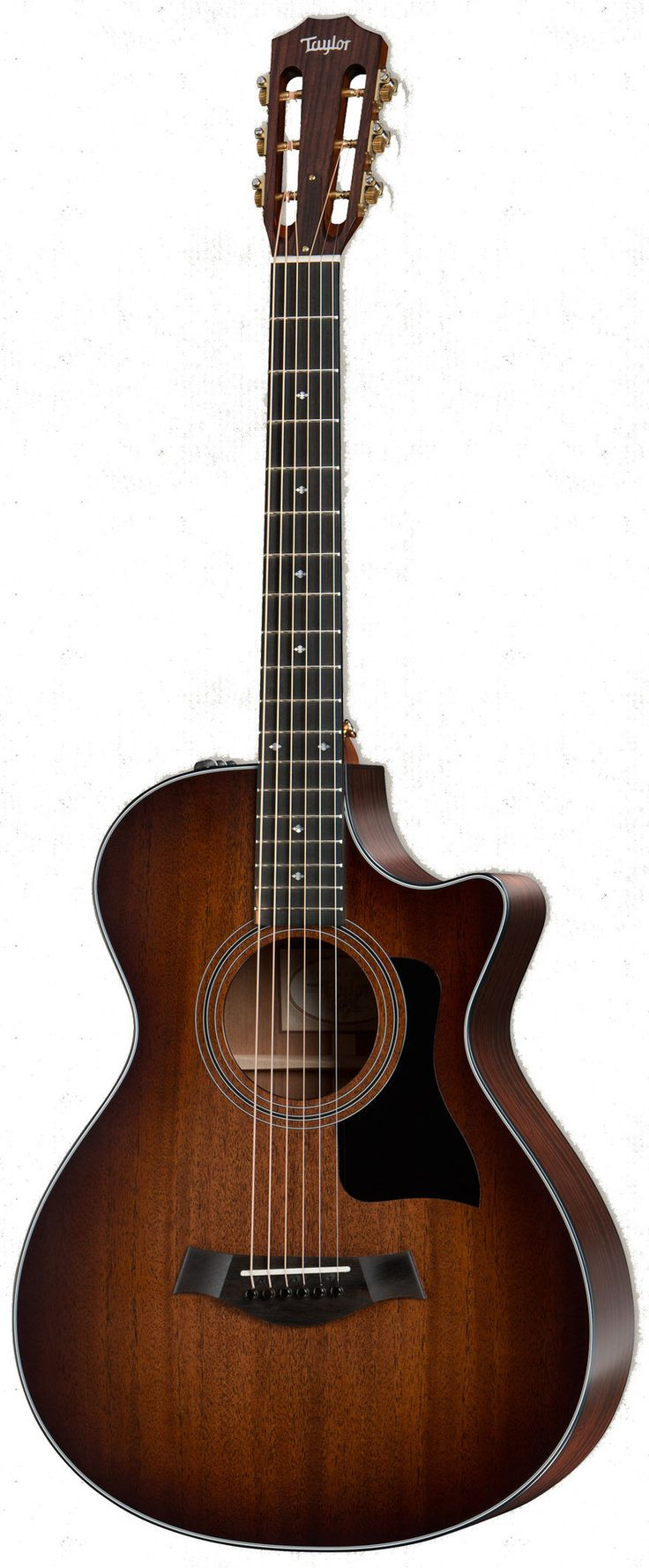 Taylor's 12-fret necks feature the slightly shorter 24-7/8-inch scale length of the Grand Concert and a repositioned bridge that sits closer to the center of the lower bout. The result is a slinkier h