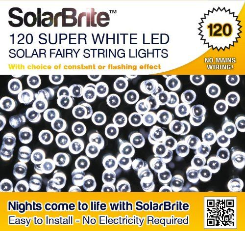 Solar Brite Deluxe Solar Fairy Lights 120 Super Bright White LED Decorative String, choice of light effect. Ideal for Trees, Gardens, Parties & More? Solar Brite