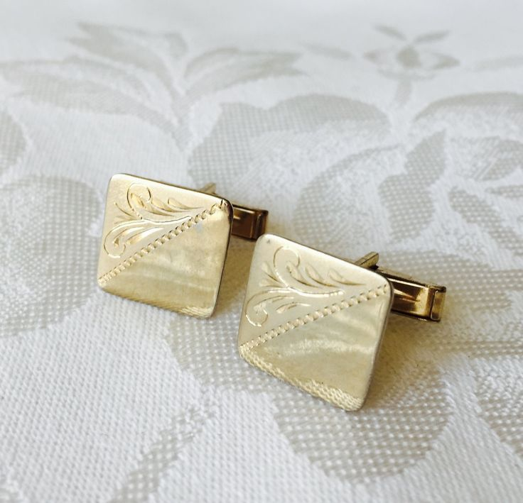 CUFFLINKS Vintage Etched Cufflinks Polished Gold Tone Metal Engraved French Cut for the Stylish Man by StudioVintage on Etsy