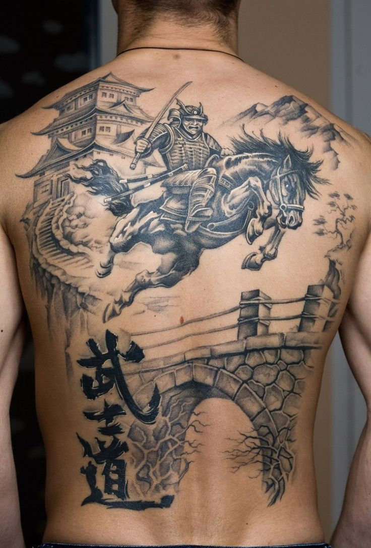 Ll find some other good examples of best horse tattoo design ideas - Samurai On Horse And A Castle Tattoo On Back