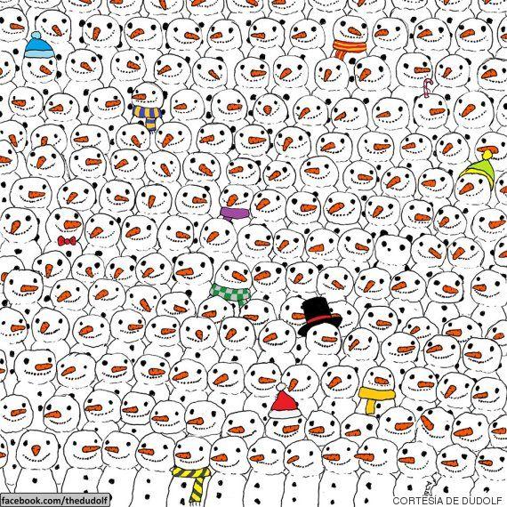 ¿Eres capaz de encontrar el panda escondido entre los muñecos de nieve?
