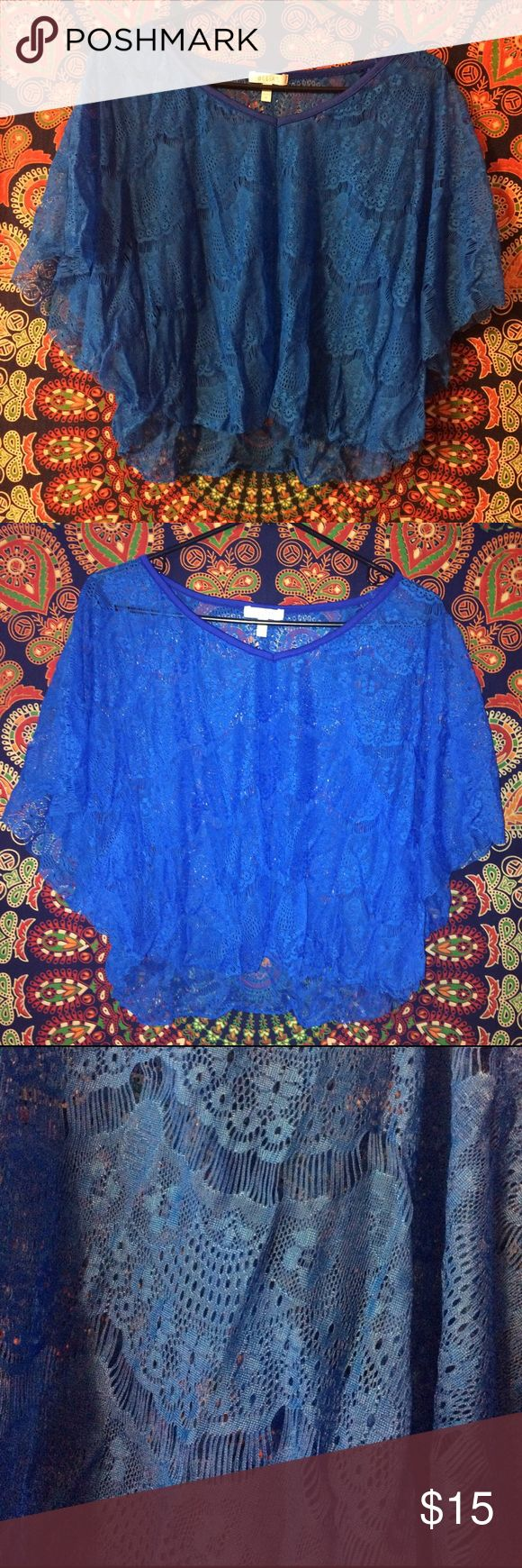 Royal Blue Lace Shirt Royal blue lace shirt from delias. See-through so great to wear with a tank top or cute Bandeau. Great for upcoming spring and summer. Would look awesome with high-waisted jeans or shorts. Delias Tops Blouses