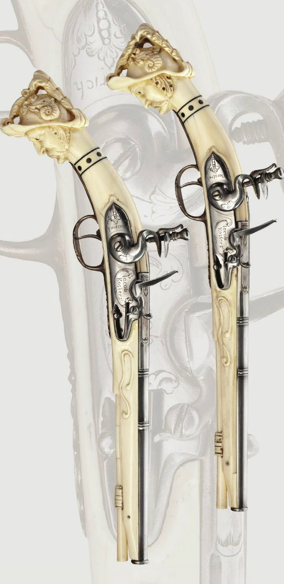 A pair of ivory-and silver-mounted flintlock pistols, circa 1675-80