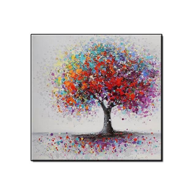 Tienda Online Pintura Al óleo Hecha A Mano En Lienzo árbol Rojo Flor Pintura A Pintura Oleo Abstracto Pintura Al óleo Sobre Lienzo Pinturas De Paisajes Faciles