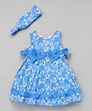 Love this Blue Floral Swing Dress & Headband - Toddler & Girls on #zulily! #zulilyfinds