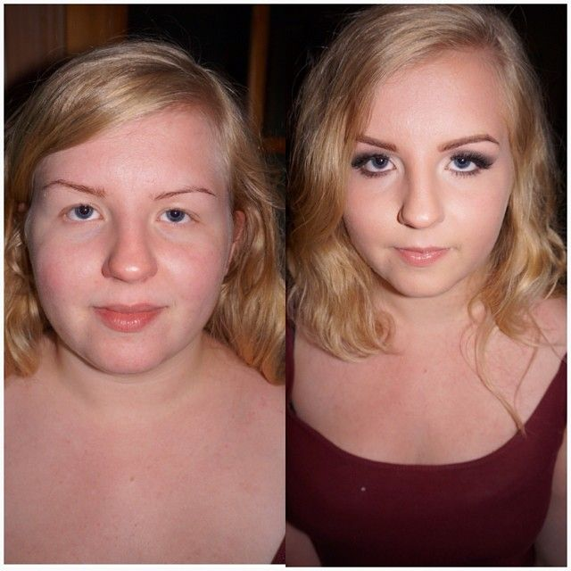 Before and after i did my sisster in law makeup  she is a stunning girl!