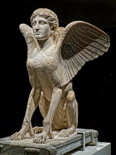 """Sphinx probably a table support Roman 120-140 CE from Monte Cagnolo outside Lanuvium near Rome, Italy by mharrsch on Flickr. Via Flickr: Piece exhibited as part of """"The Body Beautiful in Ancient Greece"""" assembled by The British Museum and Photographed at the Portland Art Museum in Portland, Oregon."""