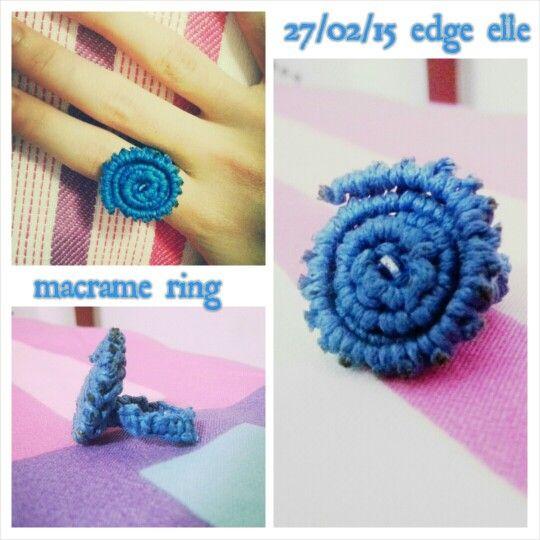 Macrame spiral ring