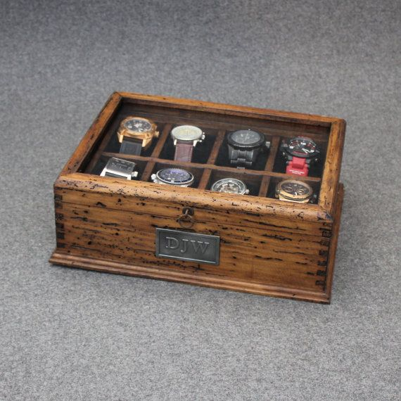This sophisticated, rustic personalized watch box makes a thoughtful gift , a perfect addition to any dresser. We use reclaimed pine wood that