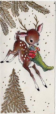 Gold Embossed Tree Reindeer Deer Fawn Stocking Gift VTG Christmas Greeting Card