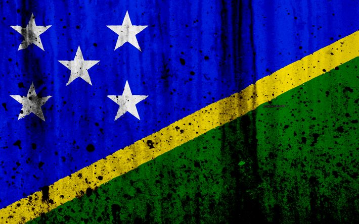 Download wallpapers Solomon Islands flag, 4k, grunge, flag of Solomon Islands, Oceania, Solomon Islands, national symbols, Solomon Islands national flag