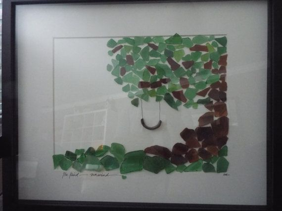 """Be Kind - Unwind! An Original sea glass design featuring a swing hanging from a large, shady tree in a large 16 x 21"""" frame."""