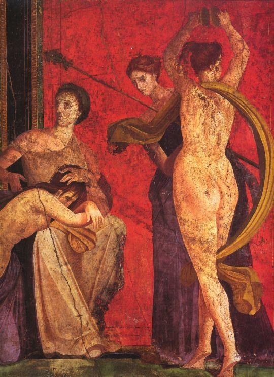 Fresco from the Sala di Grande Dipinto, Scenes in the Villa de Misteri in Pompeii