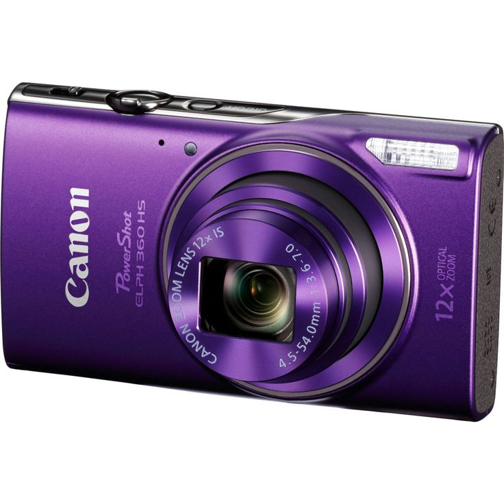 Canon PowerShot ELPH 360 HS Purple Digital Camera with 12x Optical Zoom  Wi-Fi