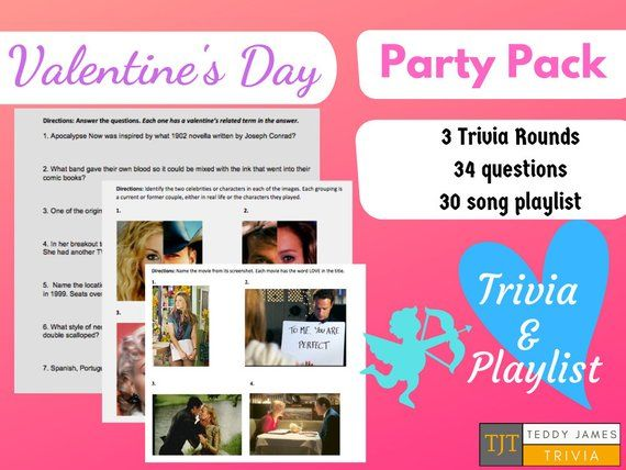 Valentine S Day Date Night Party Pack Printable Gift 3 Etsy Party Packs Song Playlist Trivia Rounds