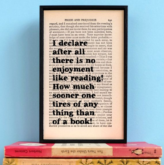 Pride and Prejudice Quote - I delcare after all - Gift for Book Lovers - Literary Gift - Jane Austen - Book Lovers Gift - Wall Art - Frame