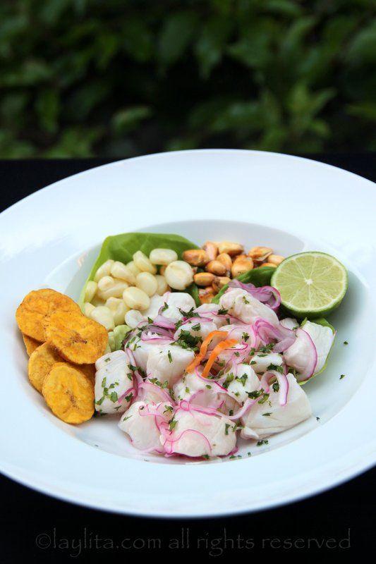Receta del tradicional cebiche peruano preparado con pescado fresco, limones, cebollas, ajies, y cilantro. El cebiche de pescado se sirve con choclo, maíz cancha, y camote.