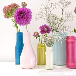 Make pretty painted bottles for floral arrangements!