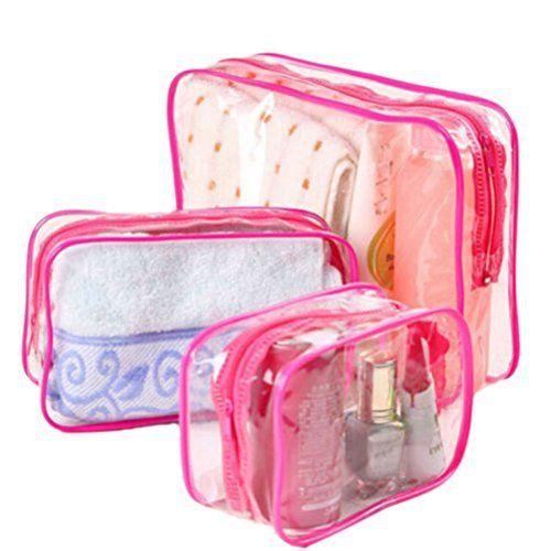 welecom 1x PVC en plastique transparent Fermeture Éclair Voyage Pochette Bain Trousse de toilette maquillage Sac 3Tailles rose rose M:…