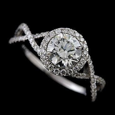 .0CT Sempre Brilliant Moissanite Diamante Pave Set infinidade de Halo Platinum 950 Engagement Ring $ 2,739.00 por www.Orospot.com