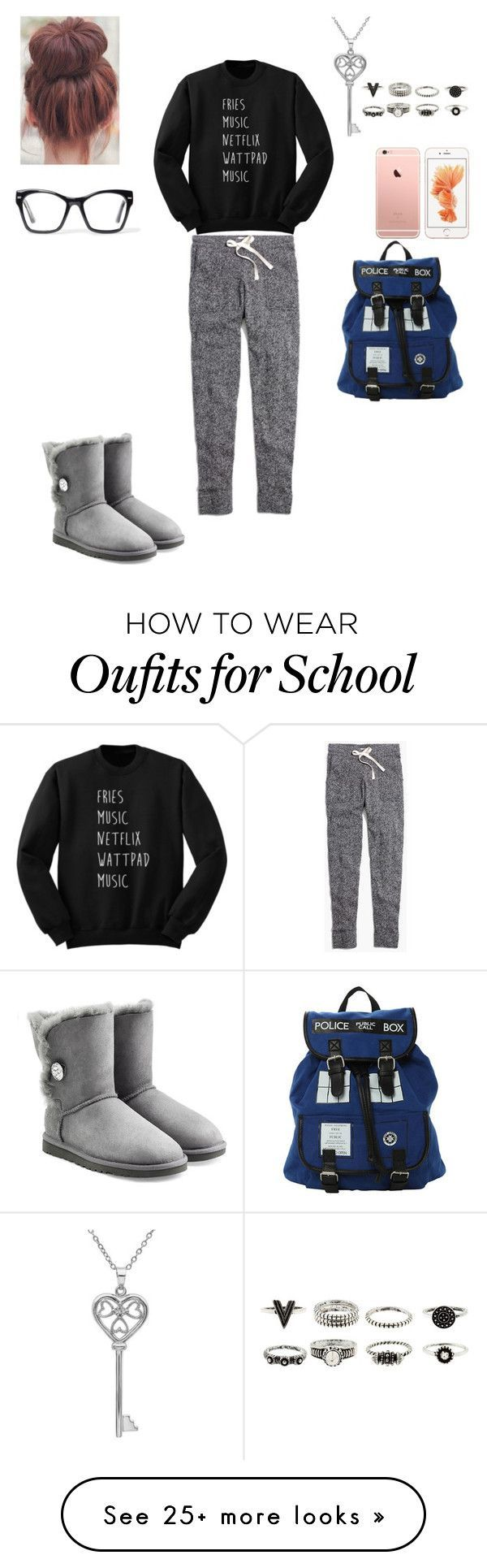 When you get dumped and you have to go to school by mesber on Polyvore featuring Madewell, UGG Australia, Amanda Rose Collection and Spitfire