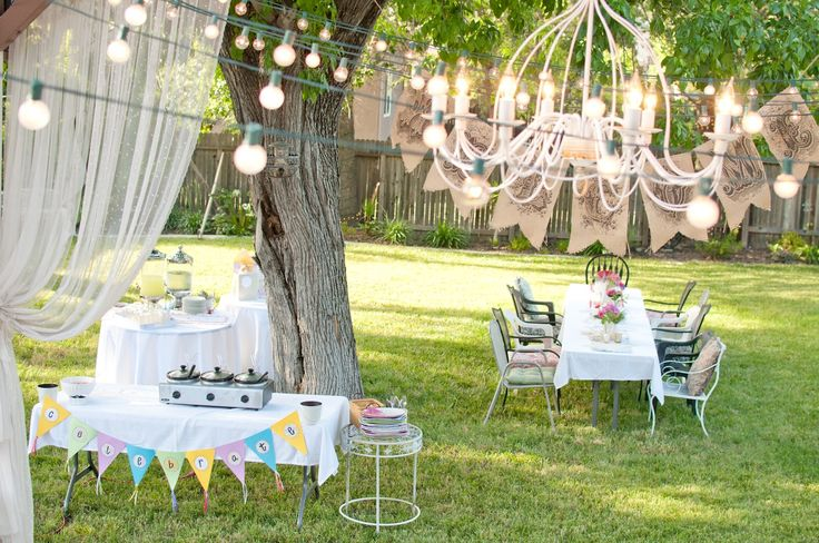 Backyard party summer backyard birthday party girly for Backyard party decoration ideas for adults
