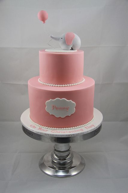 Cute for a girl christening cake....maybe this in BLUE and gray or replace the elephant with a rosary or something that represents baptism.