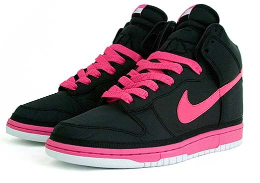 Pink and Black Nike High Tops need new tennis shoes want ones with purple swoosh tho. #TreatYourself #Shopkicks