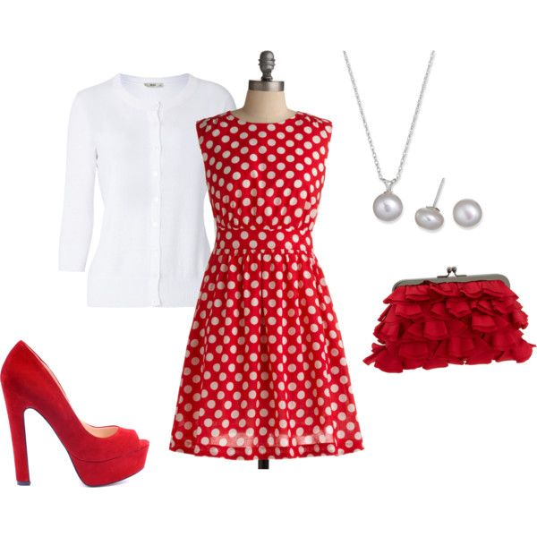 love love love this: Red And White, Dots Dresses, Polka Dots, Pok A Dots, Red Dresses, Minnie Mouse, Valentines Day, Dresses Outfits, Red Polka