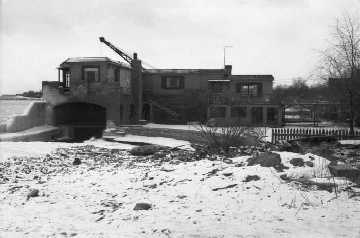 Historic photo from Sunday, February 13, 1955 - Lynne Lodge boathouse - estate of Frederick Barnard Fetherstonhaugh - Lakeshore Blvd. W., s.w. cor. Royal York Road in Mimico