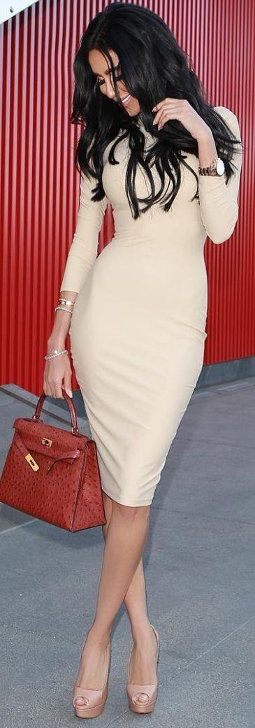 #fashion #spring02016 #inspiration  Beige Bodycon Dress  Lilly Ghalichy