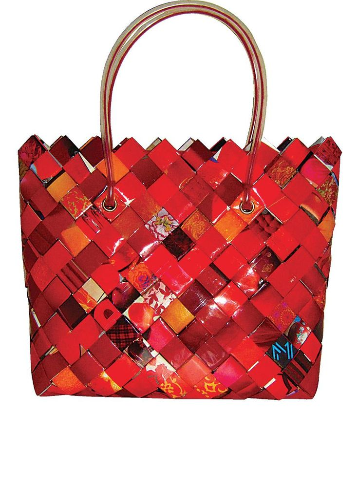 Handmade red bag from paper.
