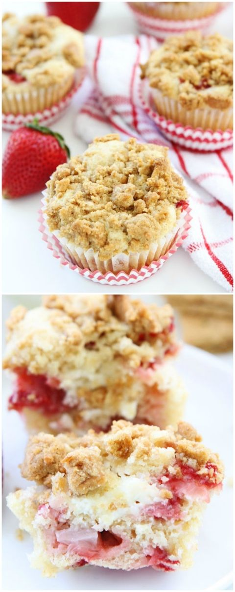 Strawberry Cheesecake Muffin Recipe on twopeasandtheirpod.com There is a special cheesecake surprise inside and a graham cracker streusel on top! These muffins are amazing!