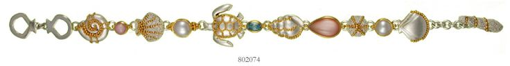 Pink Mussel, Baby Blue Topaz and White Freshwater Pearl bracelet - Poseidon's Treasures Collection
