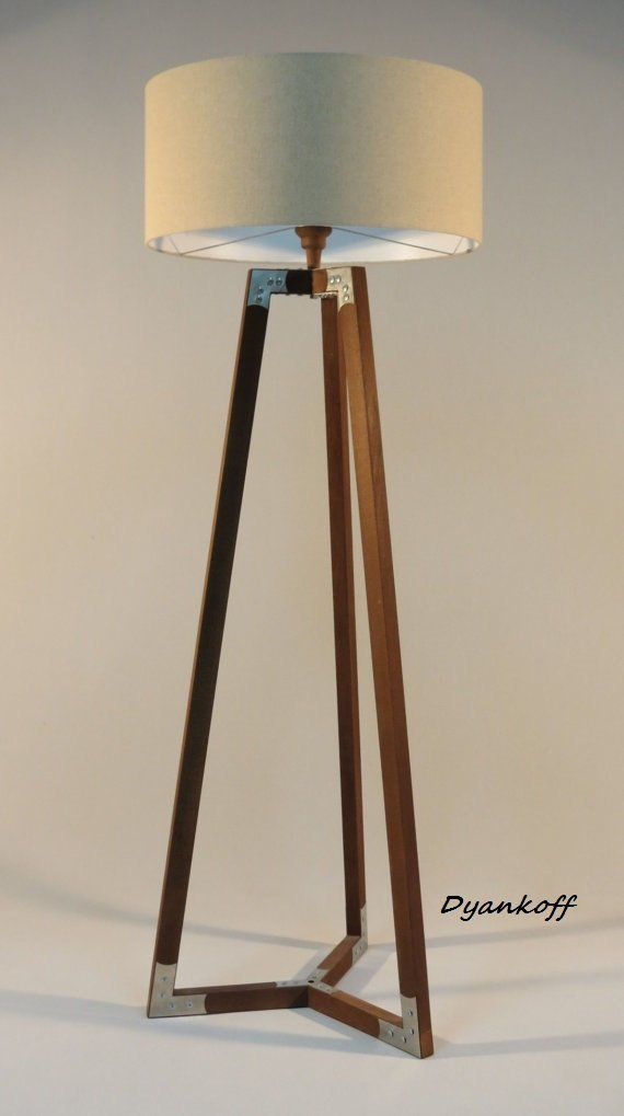 Handmade Tripod Floor Lamp Wooden Stand In Dark Wood Color With Metal Elements Drum Lampshade Different Colors Lampshade Model Ivanina Dark Wood Lamp Wooden Floor Lamps Tripod Floor Lamps