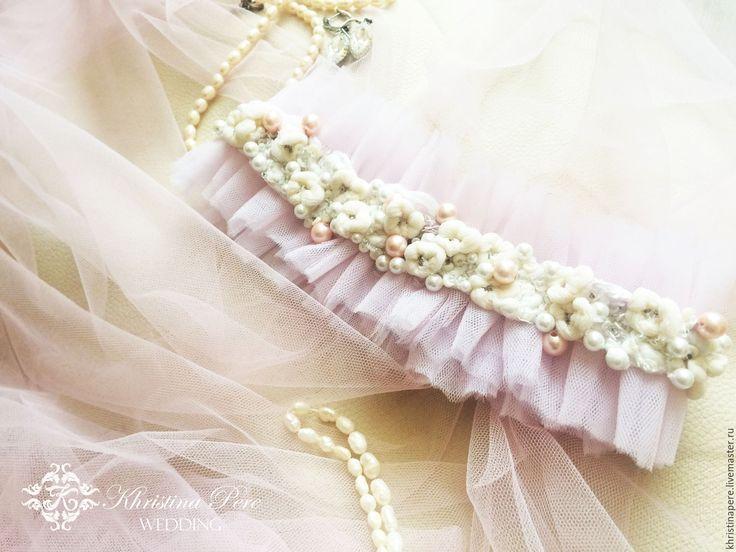 """Купить Свадебная подвязка """"Бал невесты"""" - бледно-розовый, свадебная подвязка, подвязка, свадьба"""