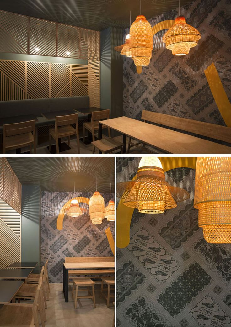 In This Contemporary Restaurant The Shadows From The Lights Behind The Wooden Wall Panels And