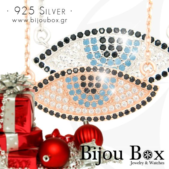 Necklace with big nazar eye from silver 925 / rose gold plated silver  Check out now... www.bijoubox.gr #BijouBox #Necklace #Κολιέ #Handmade #Χειροποίητο #Silver #Greece #Ελλάδα #Greek #Κοσμήματα #RedGold #jwlr #Jewelry #christmas #Gifts