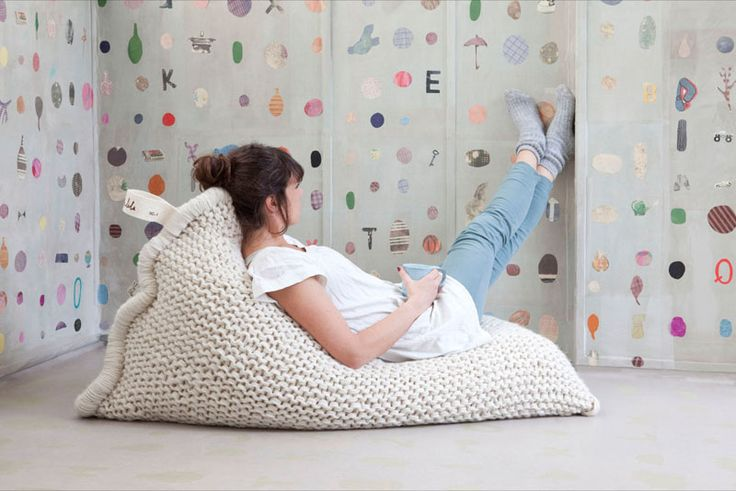This cozy knitted bean bag is perfect for decorating a tween girls bedroom.