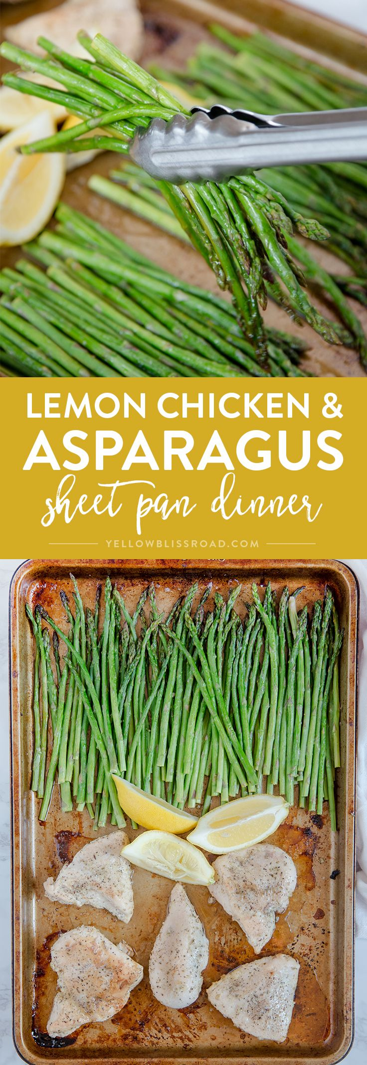 This Lemon Herb Chicken & Asparagus Sheet Pan Dinner is a delicious and healthy one pan meal that is perfect for busy weeknights! via @yellowblissroad