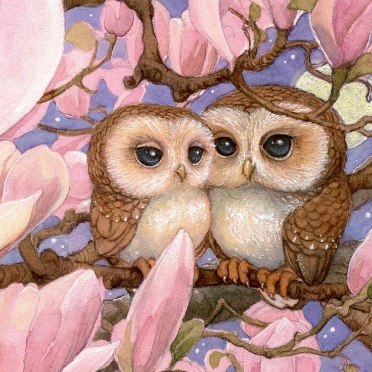 подкреплённые две совы картинка рисунок платье фиолетового цвета