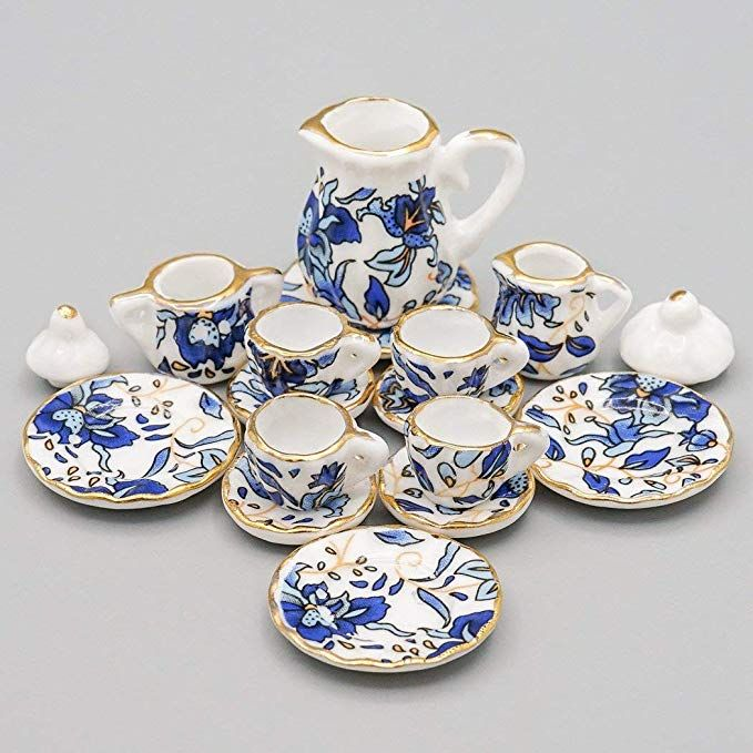 Dollhouse Miniature Blue /& White Ceramic Dinner Serving Set for Two