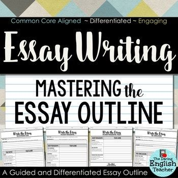 Help your students improve their writing today with this guided essay outline. This essay outline includes built-in differentiation and scaffolding to help younger writers, struggling writers, and proficient writers improve their writing skills. This resource is included in a BUNDLE: Essay Writing Unit: Teach Your