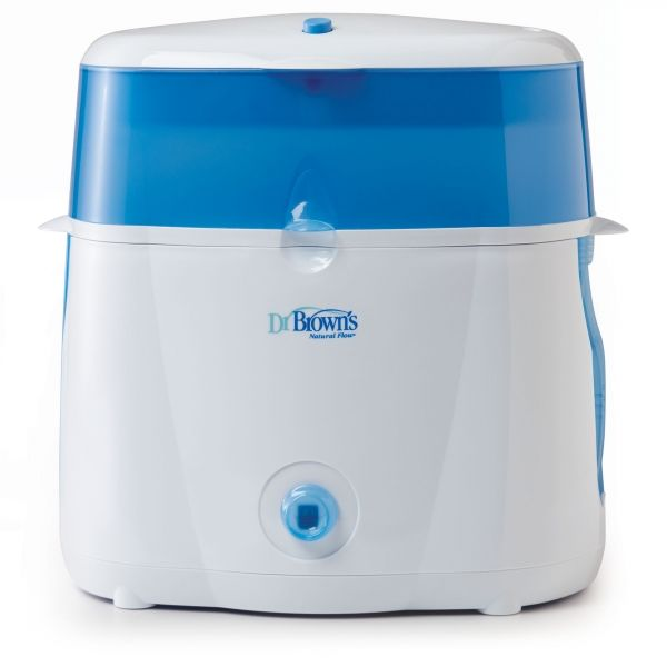 Dr. Brown's Microwave Sterilizer. Steam sterilizes bottles in 12 minutes. Sterilizes up to 6 bottles per cycle. Easy-to-use one-button operation. Includes removable basket and tongs. Auto shut-off when cycle is complete.
