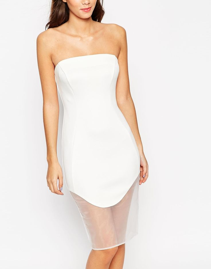 ASOS PETITE Premium Bandeau Bodycon Dress in Scuba - http://asos.do/RqcRrk