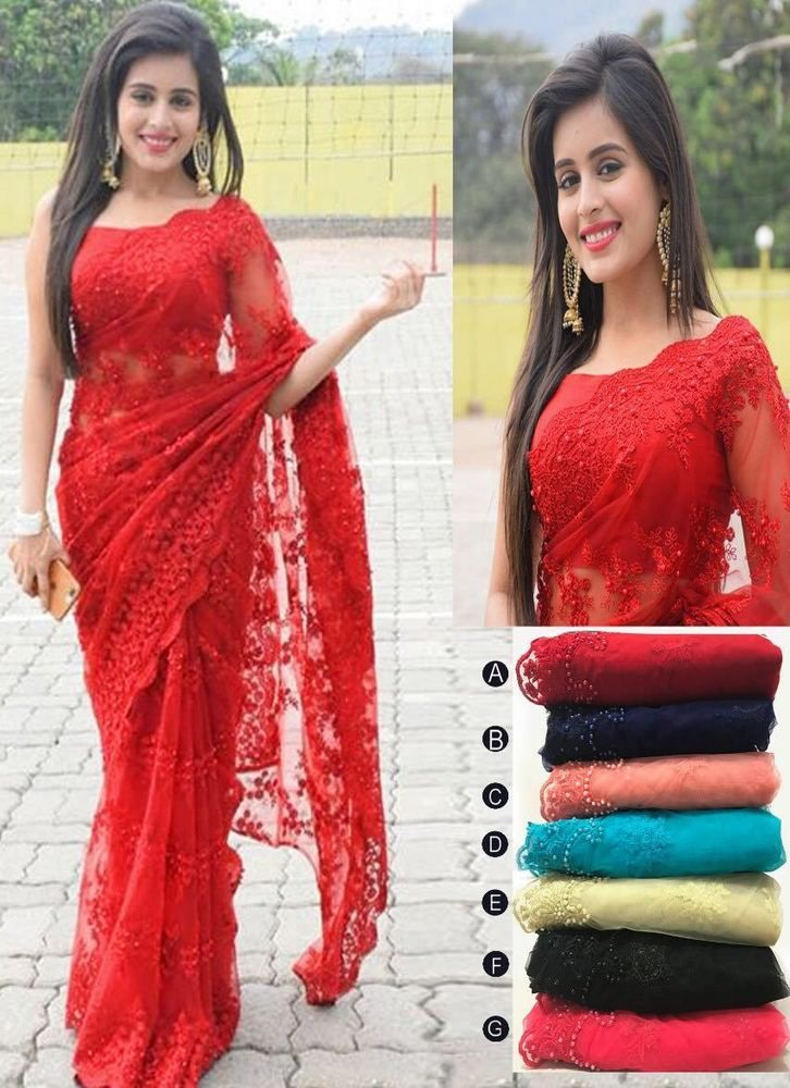 Blouse Ready Made Wedding Party Wear Indian Designer Saree Stitched size 10-12